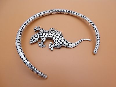 Vintage Sterling Silver Indonesia Choker Necklace And Salamander Pin Set