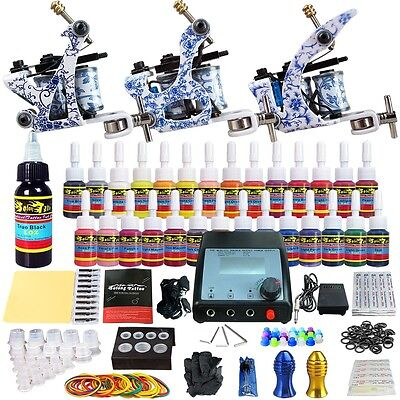 Solong Tattoo Kits 3 Pro Coi machine Guns Ink Set Power Supply Needle Grip C04