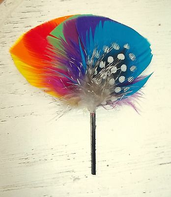 Hat Band Feather Hatband Feathers - Classic Fedora Trim - 1 Piece Rainbow NEW