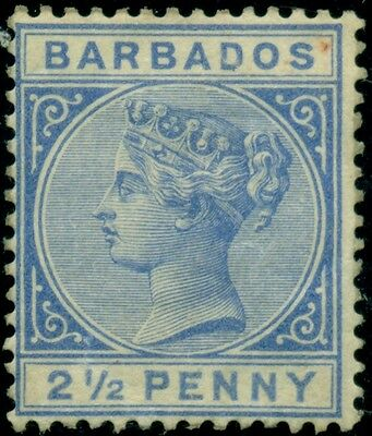 BARBADOS #62 2 ½ p dull blue, og, LH, Scott $145.00