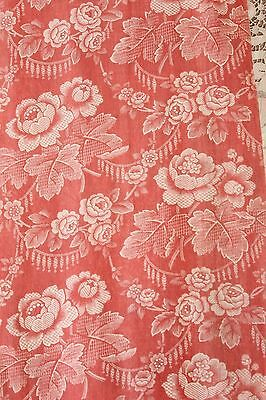"Antique French 19thC Floral Cotton Fabric~2yds31""LX14""W~Quilters,HomeDec,Pillows"