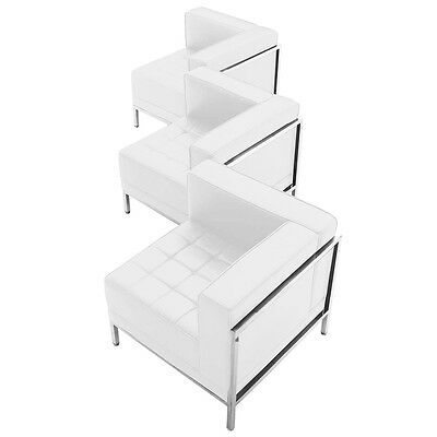 3 Piece Lounge Set with White Leather Corner Chair Set - Reception Furniture