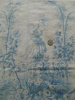 """Antique French 19thC Blue&White Cherub/Cupid &Girl Floral Toile Fabric~30""""LX33""""W"""