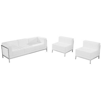 Guest Seating with White Leather Sofa & Chair Lounge Set - Reception Furniture