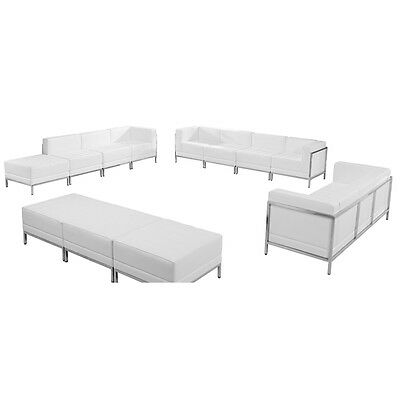 12 Piece Lounge Set in White Leather Sofa, Lounge & Ottoman Reception Set