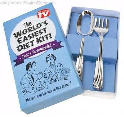 World's Easiest Diet Kit Weight Loss Fake Small Fork Hole Spoon Funny Joke Gift