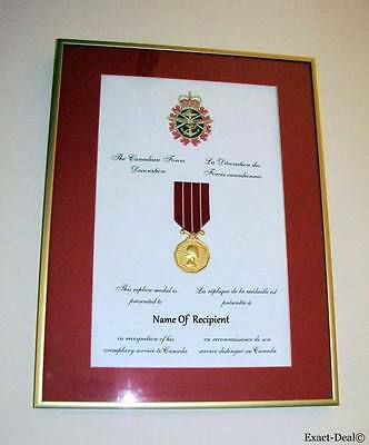 Canada CD Canadian Decorations Medal Mounting Full Size Replica Framed