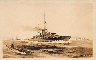 U. S. Naval Atlantic Fleet Published by E. Muller Jr.Real Photo RPPC Postcard