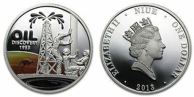 Australia Niue $1 Dollar Silver Proof Coin, 2013, Oil Discovery, Queen Elizabeth