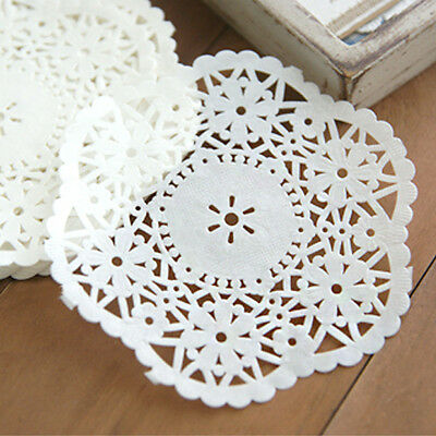 "100pcs, 4.5"" Inch White Flower Paper Lace Doily for Card Making Decoration Doily"