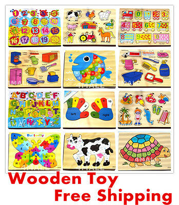 Kids Girls Boys Educational Wooden Puzzle Jigsaw Toy Time Learning Xmas Gift ABC