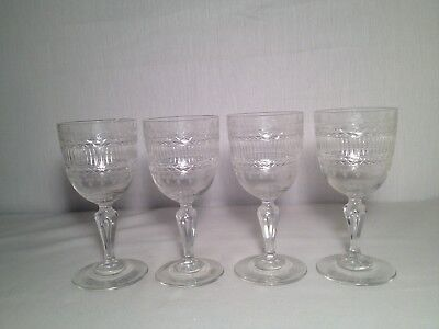 Very Nice Set Of 5 Cut & Etched Goblets