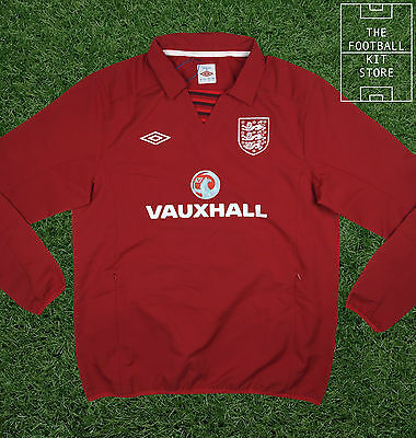 England Drill Top Red - Official Umbro Training Wear- Zip Pockets - Mens - L-2XL