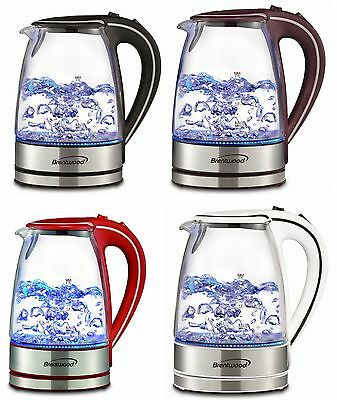 Tempered Glass Tea Kettle Hot Water Electric Cordless 1.7L in 5 COLORS