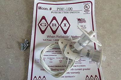 """GRI PBF-100 White 3/4"""" Plunger Tamper Push Button Switch C/L Alarm Contact 2 Lot"""