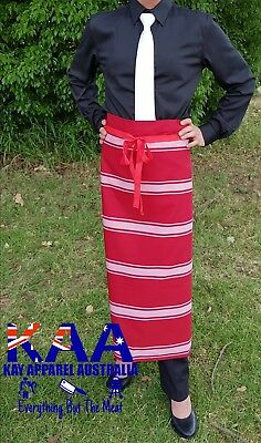 Butchers Apron Waist/Lap Apron RED/WHITE 85x80cm *MADE IN KINGAROY QLD* Butchers
