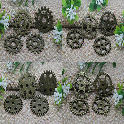 Wholesale NEW Antique Bronze Filigree Gear Charms findings Pendant 9 Style