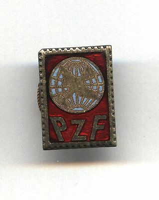 badge Polish Union of Philatelists pin - stamp pin with post pigeon POLAND