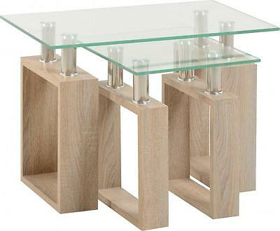 Milan Nest of Tables in Oak Effect Veneer Clear Glass Silver - Free Delivery