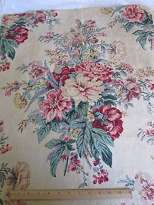 """Vintage French Time Worn Floral Linen Fabric c.1938~28""""L X 24""""W~HomeDec,Pillow"""
