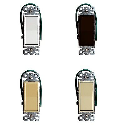 Decorator 15A 120-277V Light Switch 4-Way Rocker Switch SPST