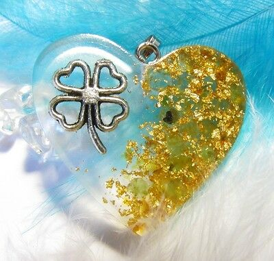 Orgone pendant - Four-leaf flower+ Amber + Peridot + real gold flakes