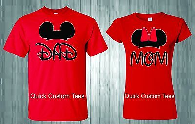Mom And Dad T-Shirts Couples Design With Mickey And Minnie Ears Cute Nice Style.