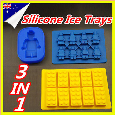 3 In 1 Brick Ice Chocolate Cube Jelly Moulds Tray Minifigure Silicone Molds
