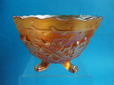 Antique English Sowerby Marigold Carnival Glass Bowl Thistle And Thorn
