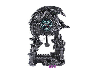 33cm Azhor Black Dragon On Castle Clock Statues Decor Christmas Birthday Gift
