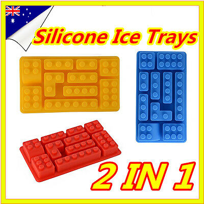 2 In 1 Brick Ice Cube Tray Silicone Mould Chocolate Cake Mold Party Bar Set