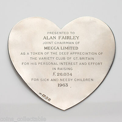 Variety The Childrens Charity Sterling Silver Heart Shape Plaque Mecca Dance Pty