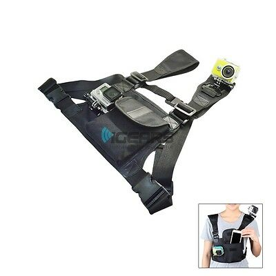 Double Mount Chest Harness With Bag for GoPro HD Hero 5 4 3 + 2 1 XiaoMi Sj4000