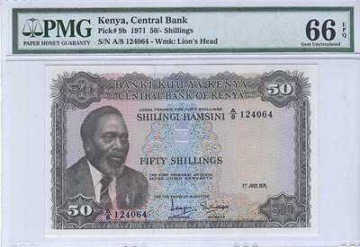 Kenya, 50 Shillings, 1971, P9b, PMG Gem Uncirculated 66 EPQ