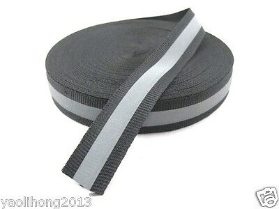 """New Reflective Silver Gray Black Tape Sew On 1"""" Trim Fabric Material 3M 10 Feet"""