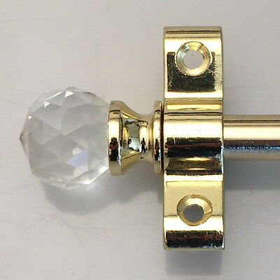 Polished Brass 3/8 Inch Stair Rods Crystal Finial (R01Cc)