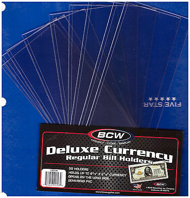 (10) Regular  Bcw Deluxe Currency Sleeve Bill  Holders Paper Money Semi Rigid06