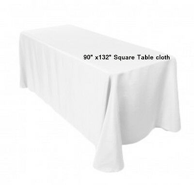 Lot Of 15 White 90 X 132  Polyester Rectangular Wedding Tablecloth Table Cloth