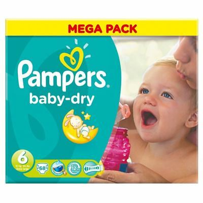PampersBaby Dry Taille 6 Extra Large 16 Kg + (68)