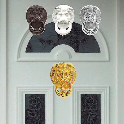 Small and Large Lions Head Urn Door Knocker in Brass, Chrome, Black and White