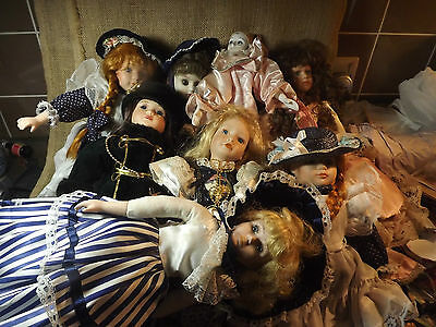 Preowned Colection 8 Dolls 14In High