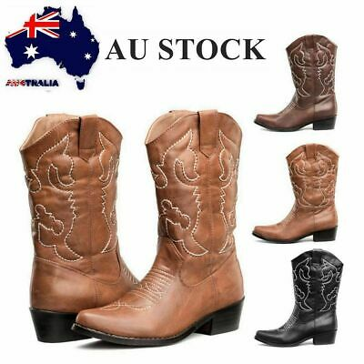 Womens Pointy Toe Cowboy Western Vintage Mid-Calf Heel Leather Black Boots Shoes