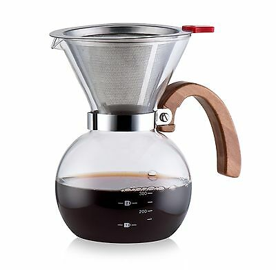 Diguo Pour Over Glass Coffee Maker with Stianless Steel Filter 1-4 Cups 400ml