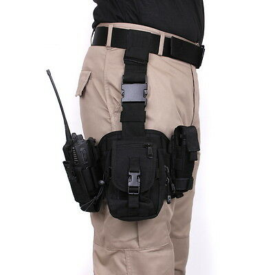 Police SWAT Black Tactical PALS MOLLE Modular Drop Down Utility Thigh Leg Rig