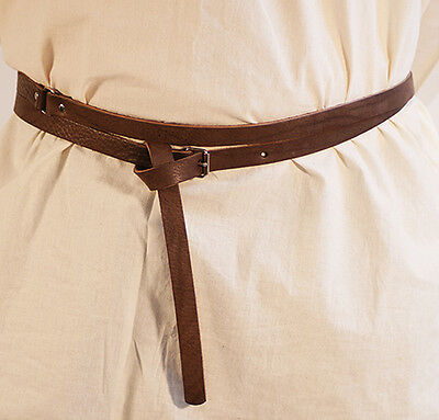 Medieval-Larp-Sca-Re enactment-BROWN LEATHER WRAP AROUND BELT 20ml WITH BUCKLE
