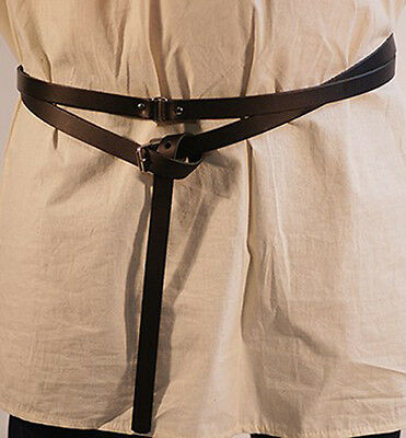 Medieval-Larp-Sca-Re enactment-BLACK LEATHER Wrap around Belt 20ml WITH BUCKLE