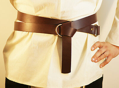 Medieval-Larp-Sca-Re enactment-BLACK LEATHER Wrap around Belt 20mm WITH BUCKLE