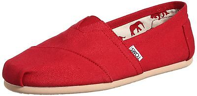Toms Classic Red Womens Canvas Espadrilles Shoes Slipons