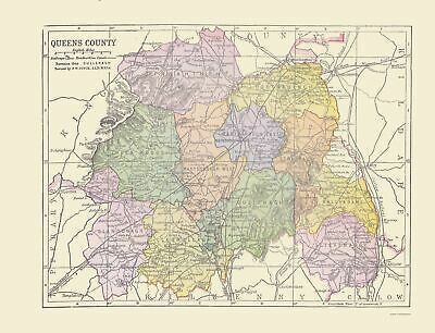 Old Ireland Map - Queens County - Philip 1882 - 23 x 30.08