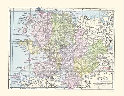 Old Ireland Map - Mayo County - Philip 1882 - 23 x 29.77
